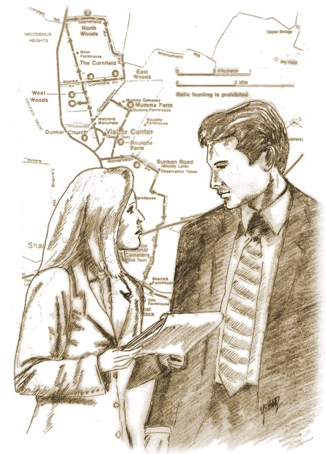 Antietam Battlefield map and Mulder and Scully